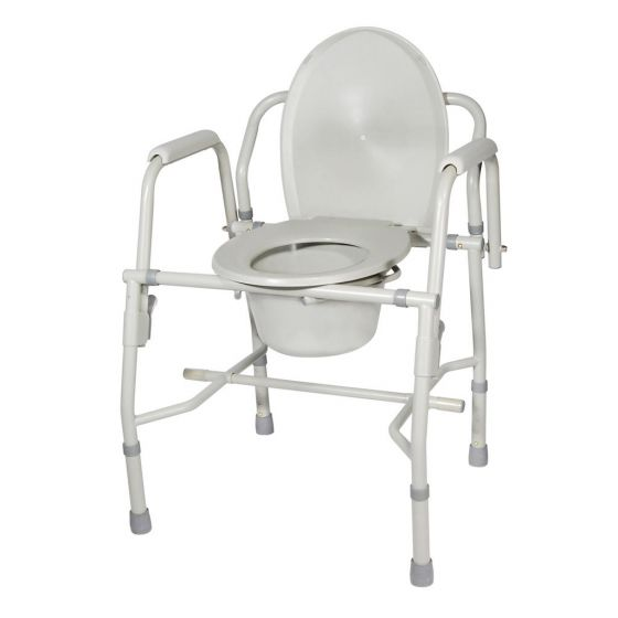 Drop Arm Commode Chair, Steel coated  Frame Back Bar