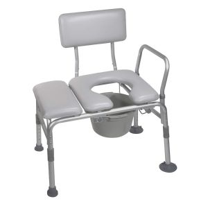 Padded Transfer Bench with Commode